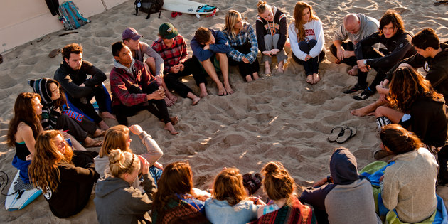 Pepperdine students circle up at surf convo