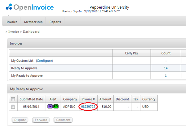 Usdgus  Mesmerizing How To Approve An Invoice  Pepperdine University  Pepperdine  With Excellent Invoice Dashboard With Beautiful Send Ebay Invoice Also Blank Invoice Template Excel In Addition Sales Invoices And Invoice Wave As Well As Download Invoice Template Word Additionally Invoice Form Template From Communitypepperdineedu With Usdgus  Excellent How To Approve An Invoice  Pepperdine University  Pepperdine  With Beautiful Invoice Dashboard And Mesmerizing Send Ebay Invoice Also Blank Invoice Template Excel In Addition Sales Invoices From Communitypepperdineedu