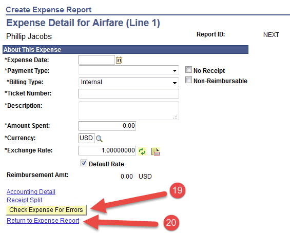 Accounting Detail  for Airfare