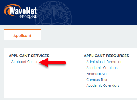 "Locations to select ""Applicant Center"""