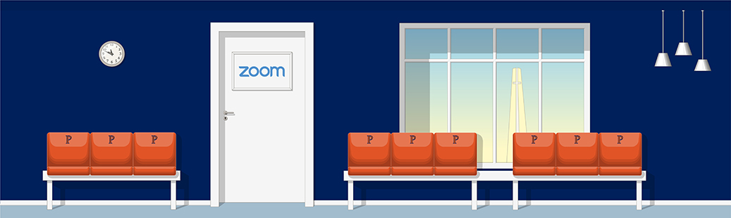 Illustration of a Zoom Waiting Room at Pepperdine