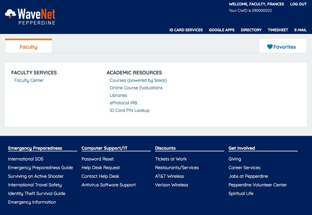 screenshot of faculty page