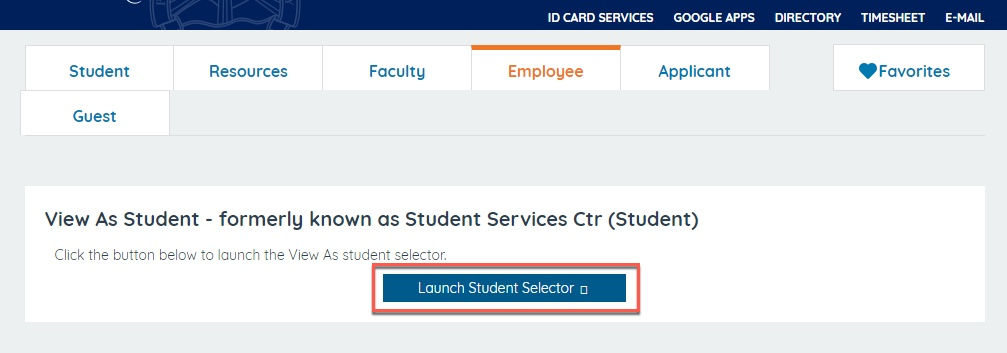 Launch student selector