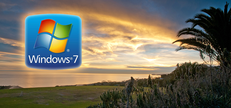 Windows 7 logo with sunset