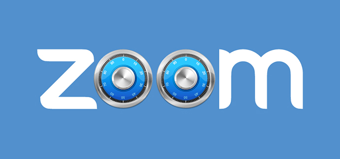 Zoom logo with two safe dials in the middle