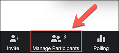 The Manage Participants button is sandwiched between the Invite and Polling buttons.