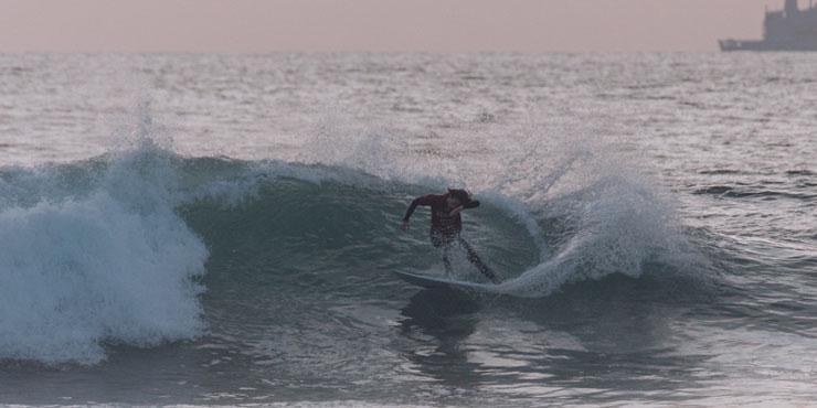 Seaver student surfing in Malibu