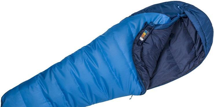 Stock image of a blue Marmot sleeping bag