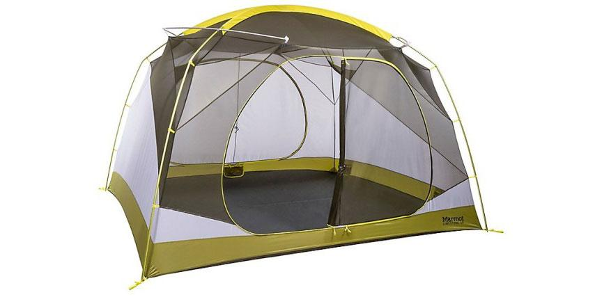 Stock image of a light green and white Marmot tent
