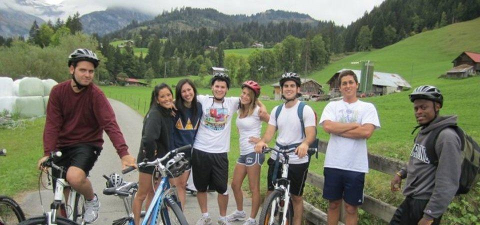 Pepperdine students on bikes in Lausanne, Switzerland