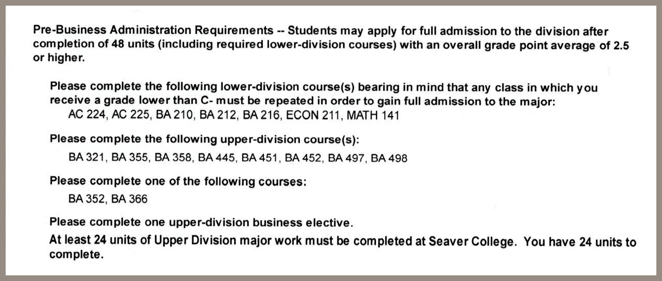 Degree Audit Report | Seaver | Pepperdine University | Pepperdine