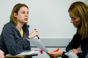 Pepperdine student works with Theresa Flynn at Pepperdine Writing Center
