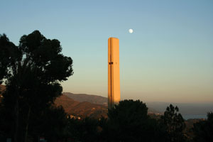 Theme Tower with the moon - Pepperdine University