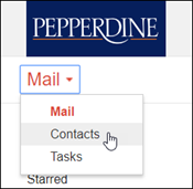 Image of Pepperdine Mail drop-down list to select Contacts