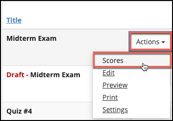 Sakai Tests And Quizzes Actions Drop Down Image
