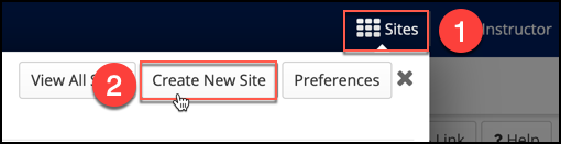 "Click ""Create New Site"" within the sites waffle to begin the process of creating a project site."