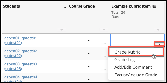 Sakai Gradebook Grade With Rubric Image