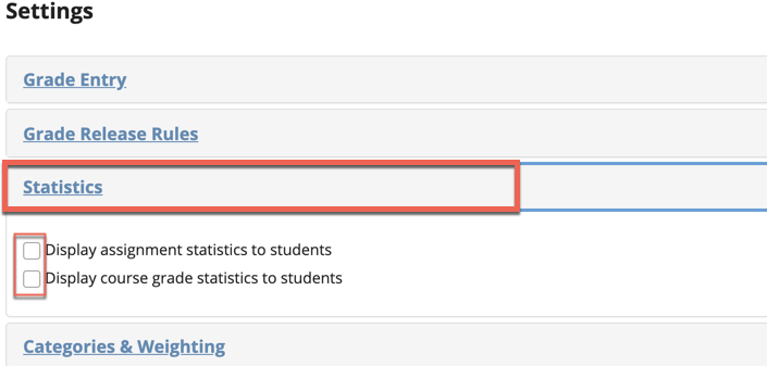 Sakai Gradebook Statistics Options Image