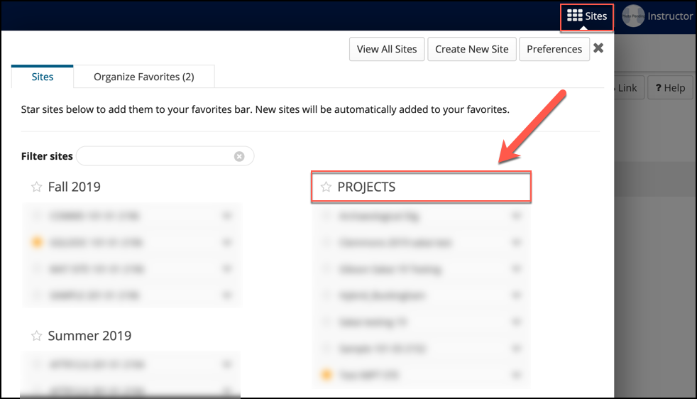 "You can now locate your project site by clicking the ""Sites"" waffle."