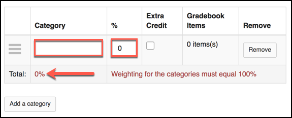 Sakai 12 Gradebook Category Options Image