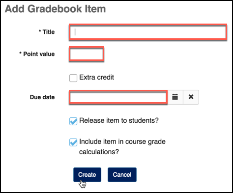 Sakai 12 Gradebook Add Item Settings Image