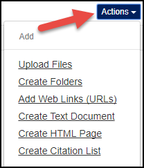 Sakai 12 Resources Tool Actions Drop-Down Image