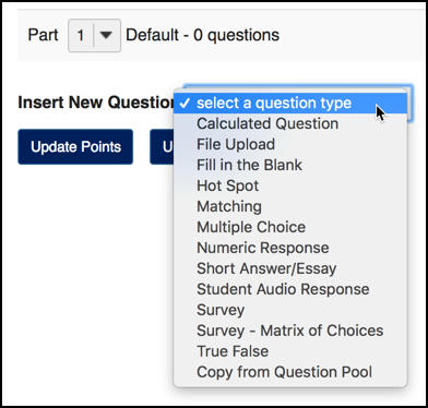 "Click the ""Add Question"" drop-down to reveal all question types."